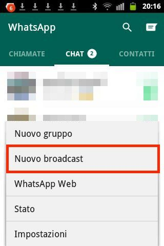 Nuovo broadcast WhatsApp