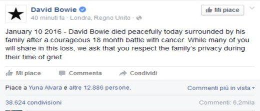 Annuncio morte David Bowie su Facebook