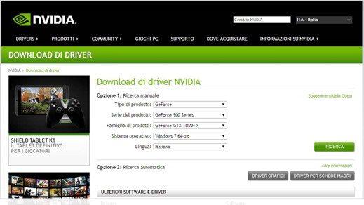 Nvidia scarica drivers