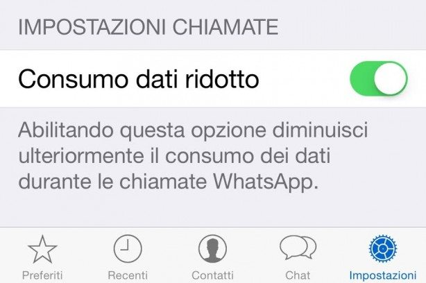 Consumo dati ridotto WhatsApp su iPhone