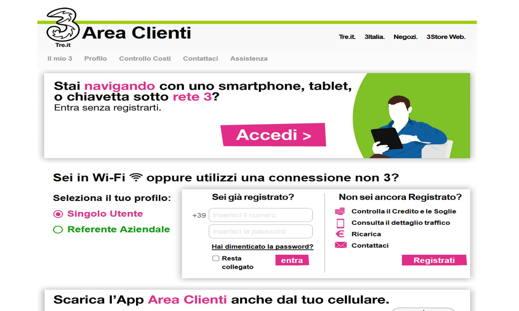 Area clienti 3 Italia