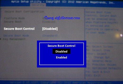 secure boot control - Come installare l'ISO ufficiale di Windows 10
