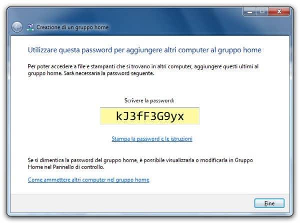 Password di Accesso Gruppo Home