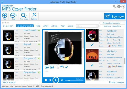 Mp3 Cover Finder scegli copertina album