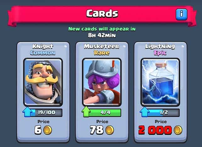 Carte comuni, epiche e rare in Clash Royale