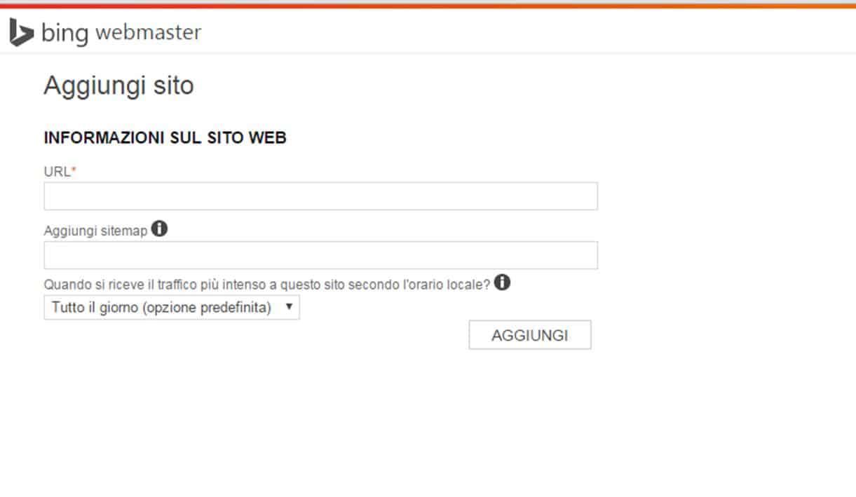 Aggiungi un sito Web su Bing
