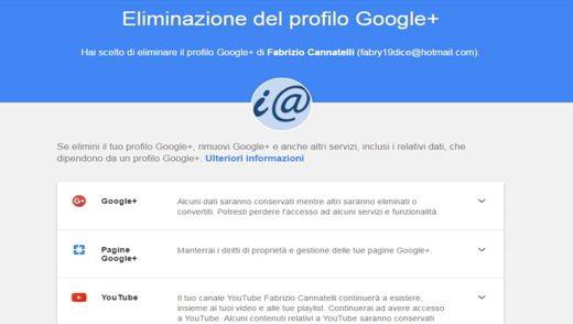 Eliminazione del profilo Google+