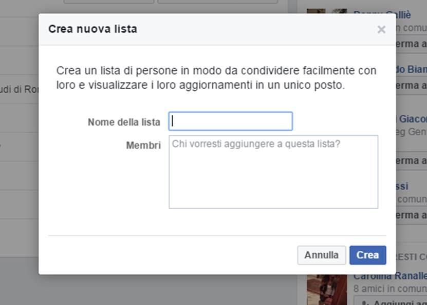 Crea nuova lista Facebook