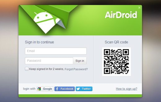 Crea account su AirDroid
