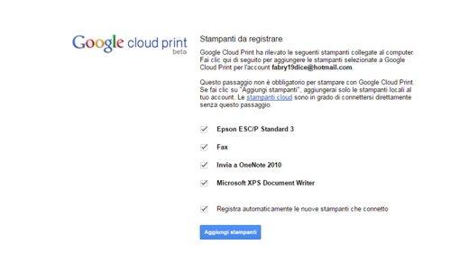 Aggiungi Stampanti Google Cloud Print