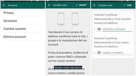 WhatsApp cambia numero
