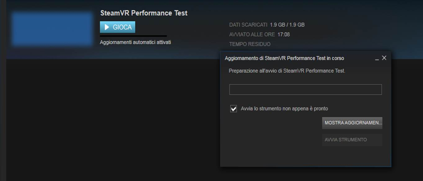 Gioca con SteamVR Performance Test