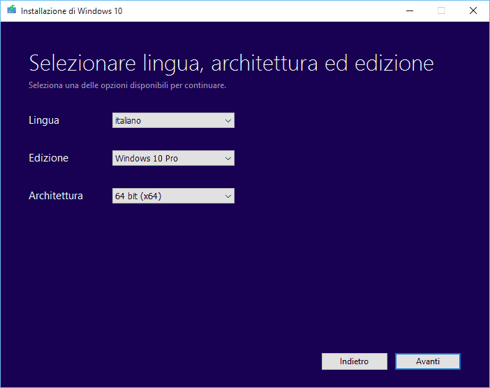 installare windows da usb