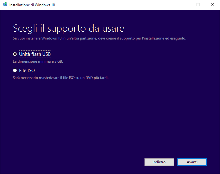 installare windows da chiavetta