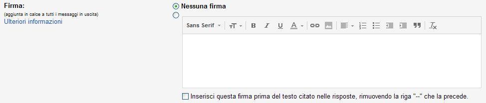 Nessuna Firma Gmail