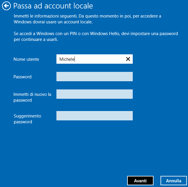 Account locale Windows 10
