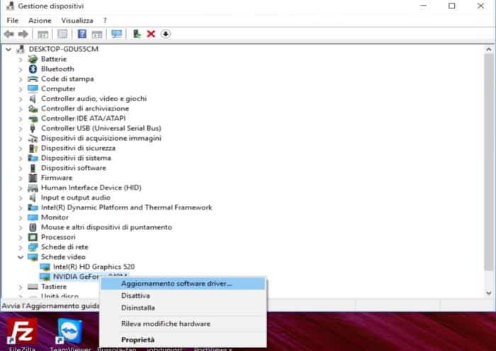 Aggiornaemnto software driver scheda video