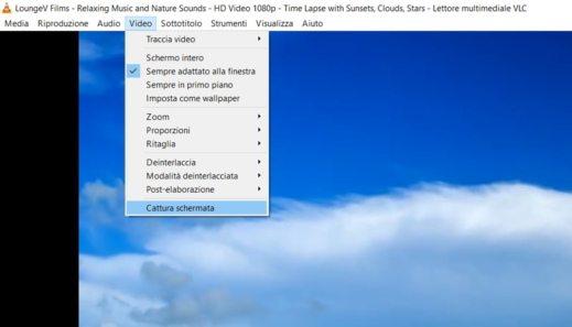 Il menu cattura schermata di VLC