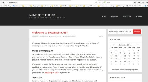 BlogEngine.net su Localhost