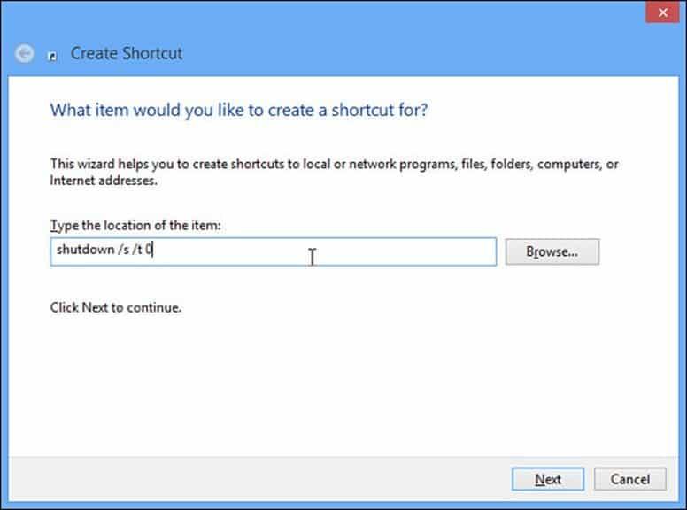 Crea shortcut shutdown