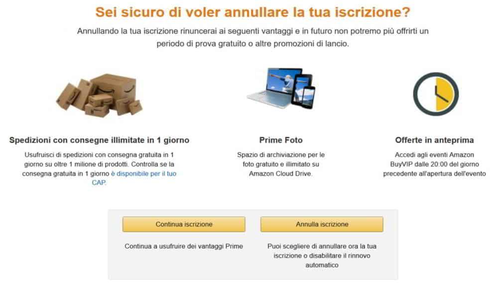 Annulla iscrizione o rinnovo automatico Amazon Prime