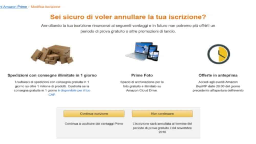 Confermi annullamento iscrizione Amazon Prime