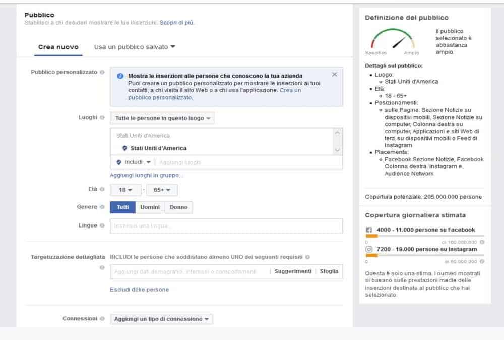 Creare un'inserzione Facebook