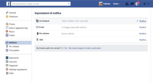 Notifiche Facebook