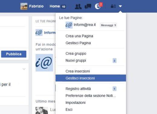 Gestisci Inserzioni Facebook