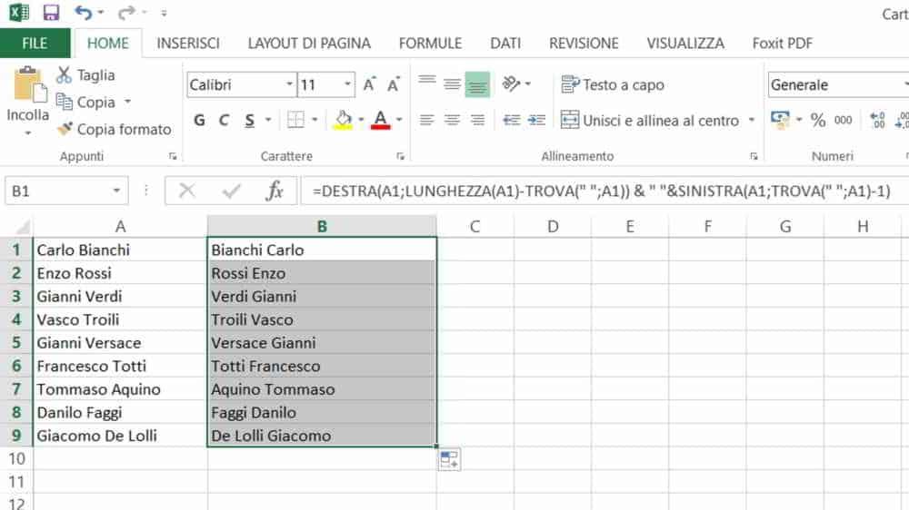 Formula Nomi e Cognomi Excel