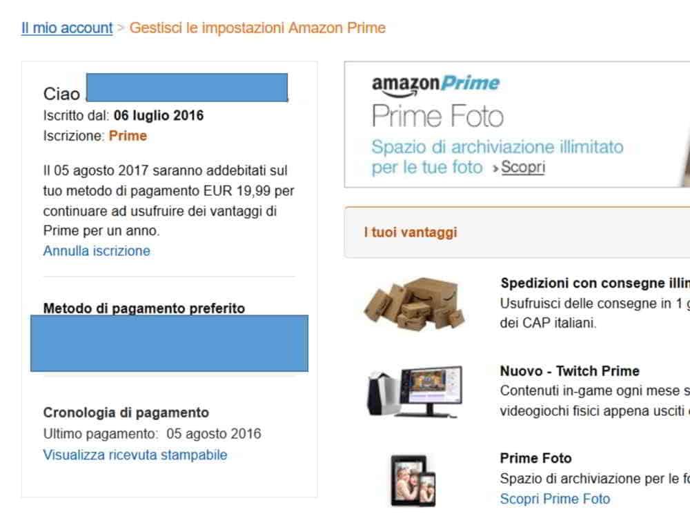 Annulla iscrizione Amazon Prime