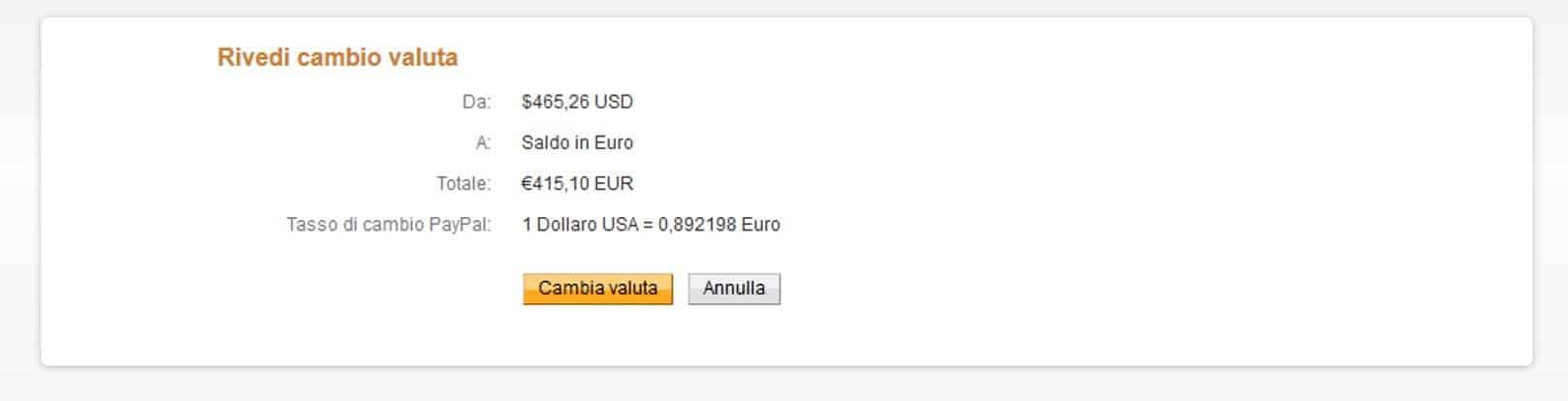 Rivedi cambio valuta