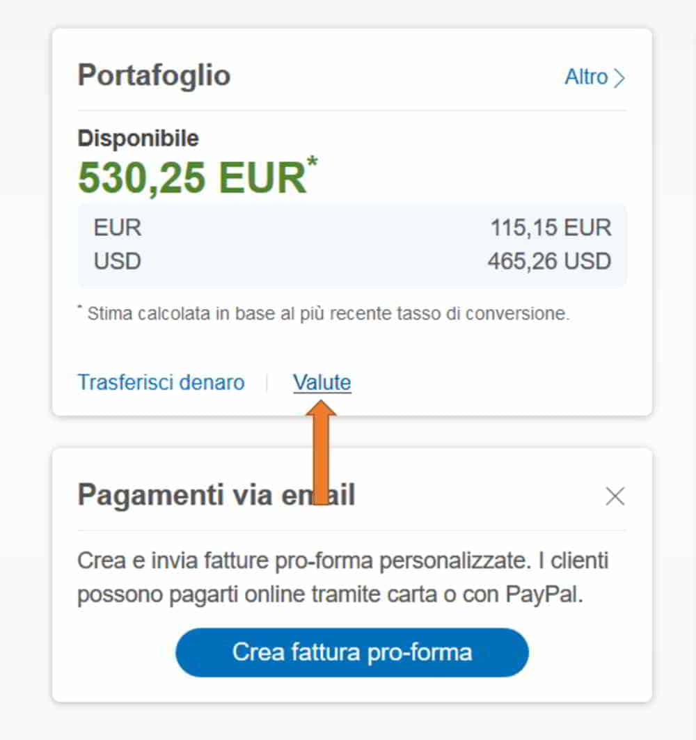 Valute su PayPAl