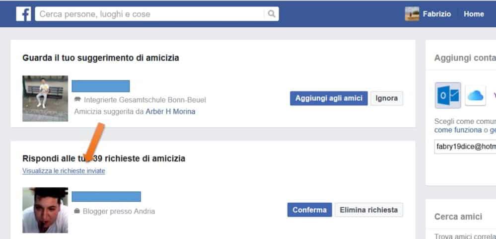 visualizza le richieste inviate Facebook