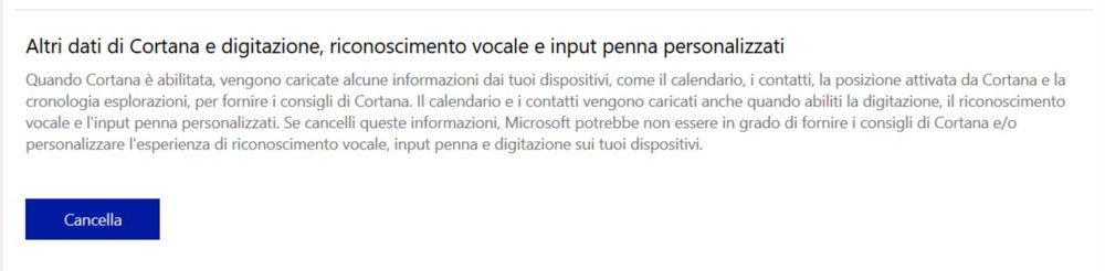 Cancella Informazioni Cortana