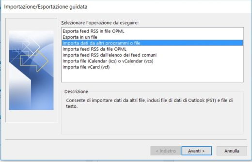 Importa PST su Outlook