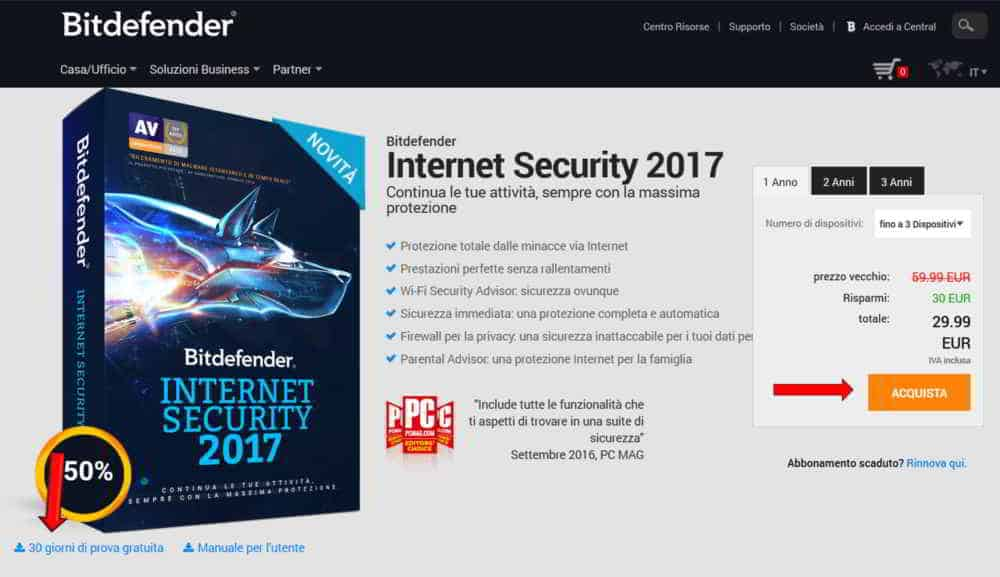 Prezzi per Bitdefender Internet Security 2017
