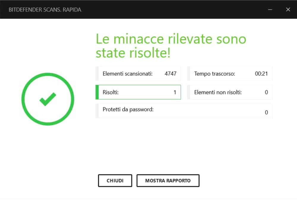 Scansione rapida Bitdefender Internet Security 2017