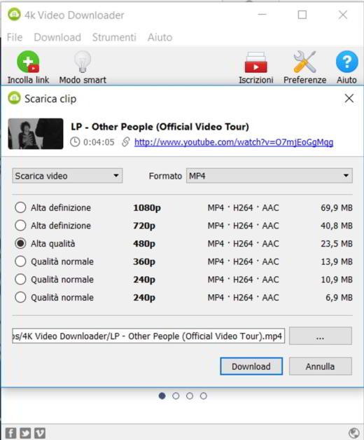 Qualità video scaricati con 4K Video Downloader