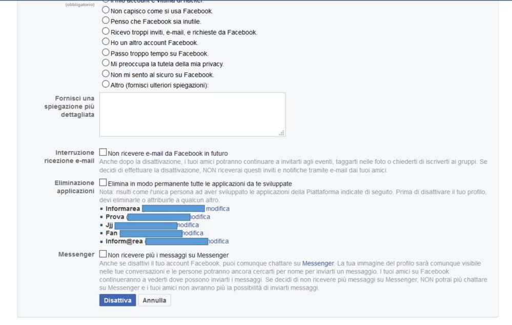 Come disattivare account Facebook