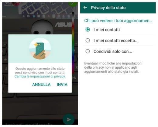 Come inviare lo Stato di WhatsApp