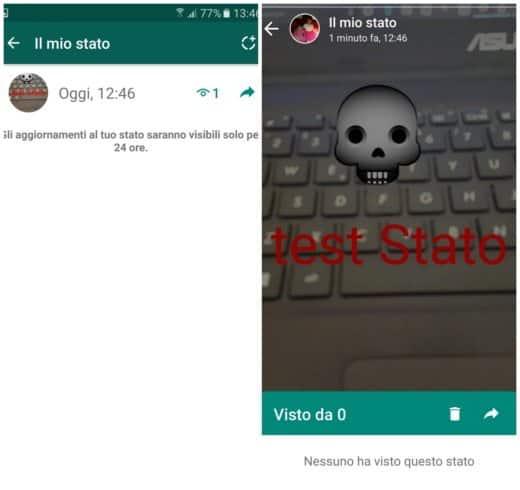 Come inoltrare lo Stato di WhatsApp