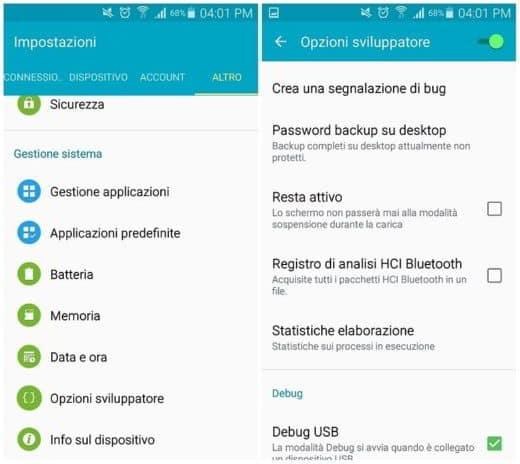 Come attivare le Opzioni Sviluppatore Android