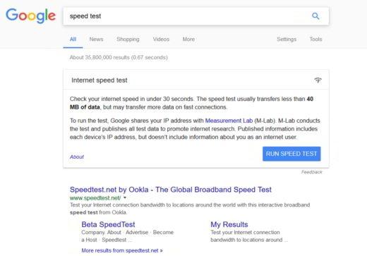 Verificare velocità di connessione - Run speed test