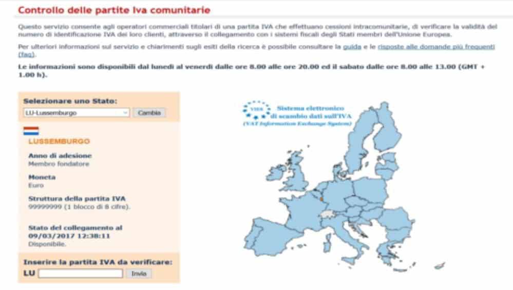 Controllo delle Partite IVA comunitarie