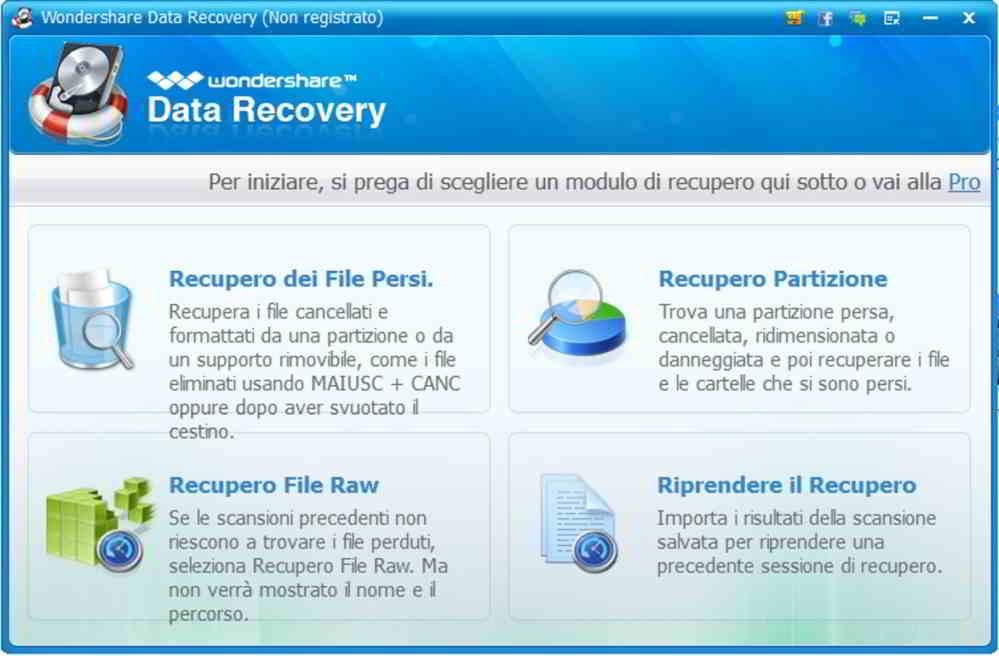 Wondershare data recovery interfaccia