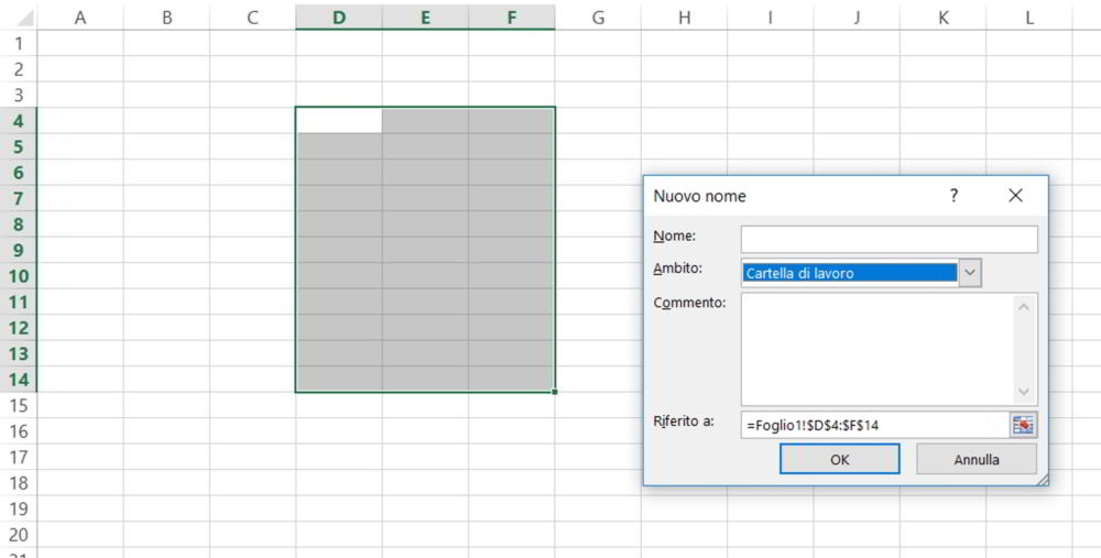 Come assegnare un nome alle celle in Excel