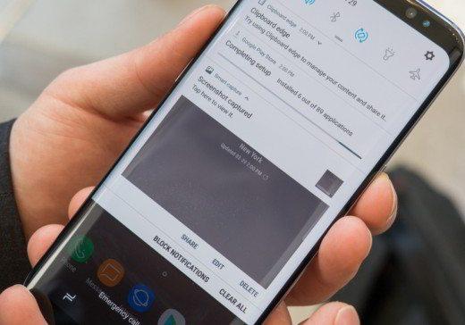 Eseguire e salvare screenshot Samsung galaxy S8