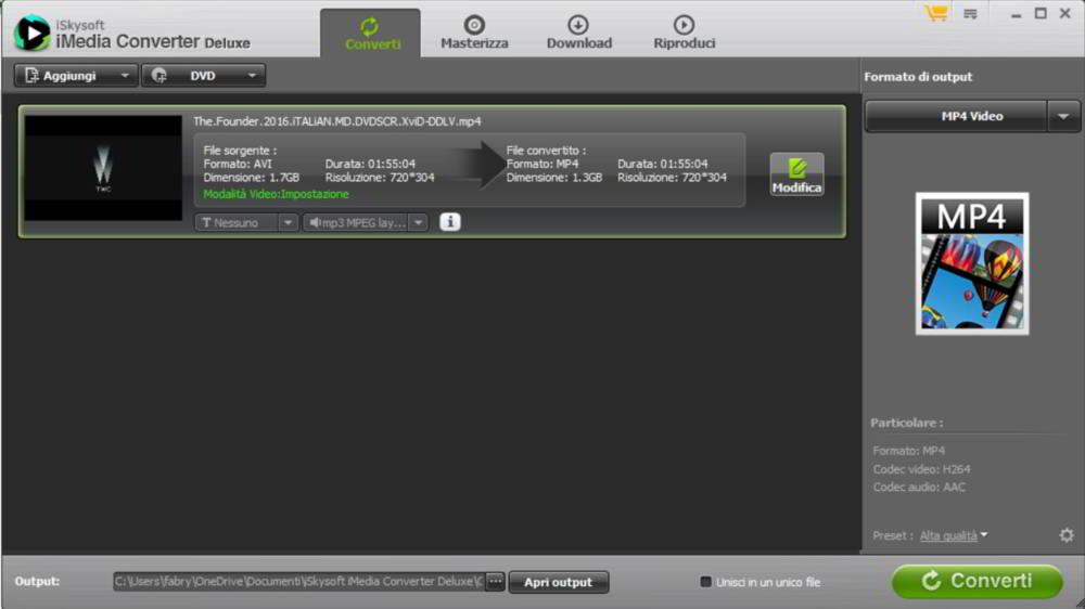 Le schede di iSkySoft Media Converter Deluxe