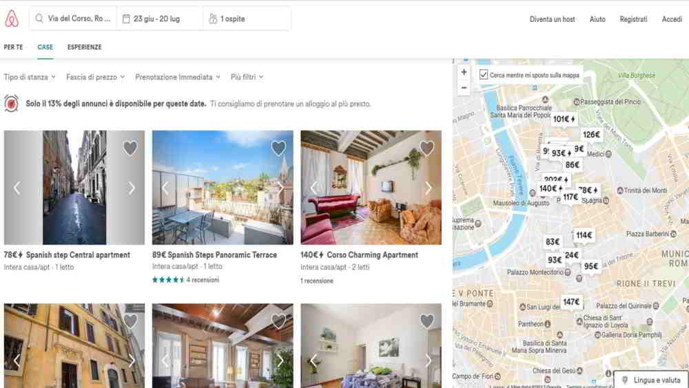 AirBnB prenota e visualizza appartamento